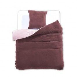 Béžovo-hnedé obojstranné obliečky z mikrovlákna DecoKing Furry, 135 x 200 cm