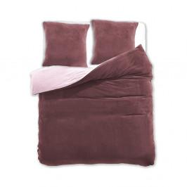 Béžovo-hnedé obojstranné obliečky z mikrovlákna DecoKing Furry, 200 x 220 cm