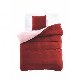 Červeno-béžové obojstranné obliečky z mikrovlákna DecoKing Furry, 135 x 200 cm