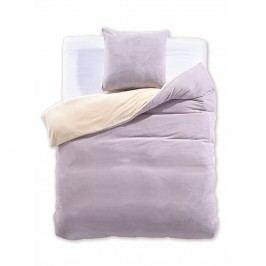 Krémovo-sivé obojstranné obliečky z mikrovlákna DecoKing Furry, 135 x 200 cm