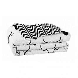 Čierno-biela obojstranná prikrývka z mikrovlákna DecoKing Hypnosis Deers, 220x240cm