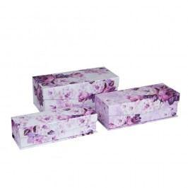 Sada 3 úložných boxov Tri-Coastal Design Romantic Rose