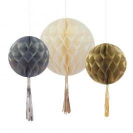 Papierové dekorácie Honeycomb With Tassels, 3 ks