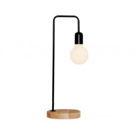 Čierna stolová lampa s dreveným detailom Valetta