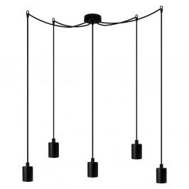 Čierne závesné svietidlo s 5 káblami Bulb Attack Cero Basic