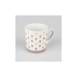 Béžovobiely ručne zdobený keramický hrnček Dakls Heart , 473 ml