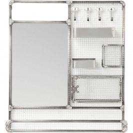 Zrkadlo s poličkami v striebornej farbe Kare Design Mirror Buster Organizer, 71×80 cm