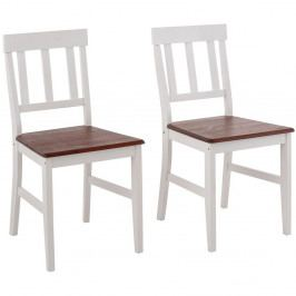 Sada 2 bielych jedálenských stoličiek z masívneho borovicového dreva Støraa Vinnie