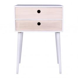 Nočný stolík z dreva paulovnia s bielym rámom House Nordic Rimini