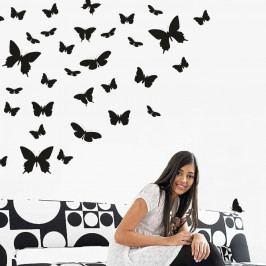 Čierna samolepka na stenu Motýlí raj
