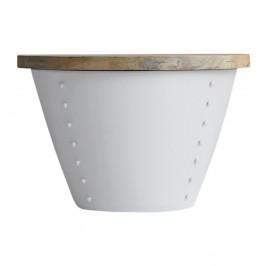 Biely príručný stolík s doskou z mangového dreva LABEL51 Indi,⌀60 cm