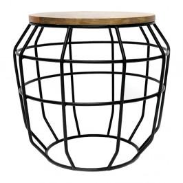 Čierny príručný stolík s doskou z mangového dreva LABEL51 Pixel,⌀51 cm