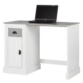 Biely pracovný stôl z borovicového dreva s dvierkami Støraa Tommy