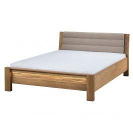Dvojlôžková posteľ s béžovým čalúnením Szynaka Meble, 160×200 cm