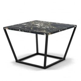 Malý čierny konferenčný stôl z mramoru s čiernou podnožou Absynth Noi Italy