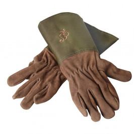 Záhradnícke kožené rukavice so zeleným lemom Esschert Design Spelter