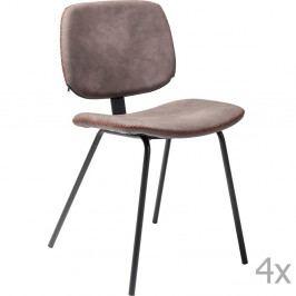 Sada 4 hnedých jedálenských stoličiek Kare Design Barber