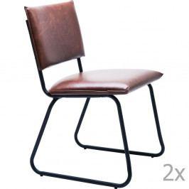 Sada 2 hnedých jedálenských stoličiek Kare Design Duran