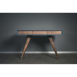 Modrý pracovný stôl z masívneho jaseňového dreva Charlie Pommier Triangle, 130×70cm