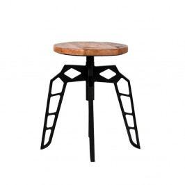 Čierna stolička so sedákom z mangového dreva LABEL51 Pebble