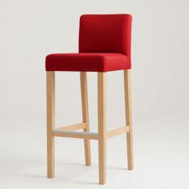 Červená barová stolička s prírodnými nohami Custom Form Wilton