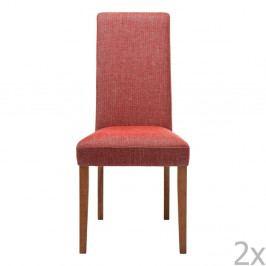 Sada 2 červených jedálenských stoličiek s podnožou z bukového dreva Kare Design Rhytm