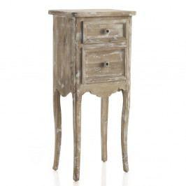 Svetlohnedý príručný stolík s 2 zásuvkami Geese Antique