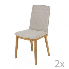 Sada 2 jedálenských stoličiek s podnožou z dubového dreva Woodman Adra Naturo Light