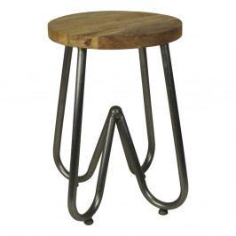 Odkladací stolík s doskou z mangového dreva s čiernou podnožou HSM Collection, ⌀ 38 cm
