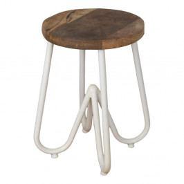 Odkladací stolík s doskou z mangového dreva s bielou podnožou HSM Collection, ⌀ 38 cm