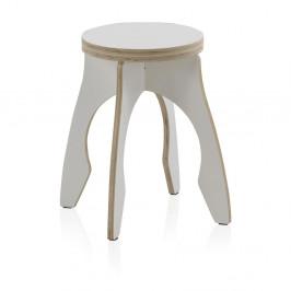 Biela detská stolička z preglejky Geese Piper, ⌀ 41 cm