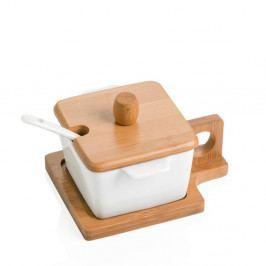 Štvorcová miska s podnosom, viečkom a lyžičkou Brandani Petite