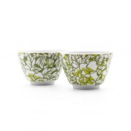 Sada 2 zelených porcelánových hrnčekov na čaj Bredemeijer Yantai