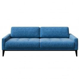Modrá trojmiestna pohovka s drevenými nohami MESONICA Musso Tufted