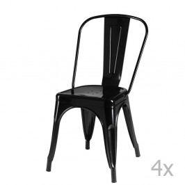 Sada 4 čiernych stoličiek Furnhouse Korona