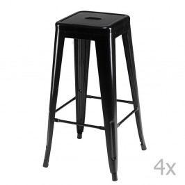 Sada 4 čiernych barových stoličiek Furnhouse Korona