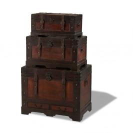 Sada 3 drevených dekoratívnych truhlíc Furnhouse Trunks Medieval