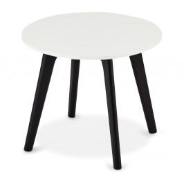 Čierno-biely konferenčný stolík s nohami z dubového dreva Furnhouse Life, Ø48 cm