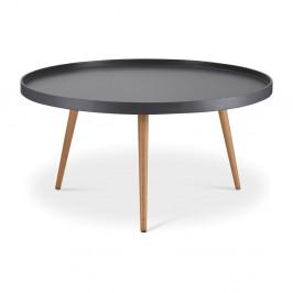 Sivý konferenčný stolík s nohami z bukového dreva Furnhouse Opus, Ø90 cm