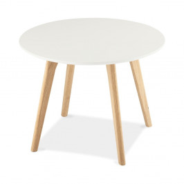Biely konferenčný stolík s nohami z dubového dreva Furnhouse Life, Ø60 cm