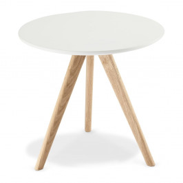Biely konferenčný stolík s nohami z dubového dreva Furnhouse Life, Ø48 cm