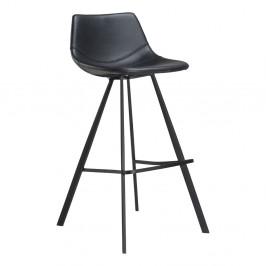 Čierna barová stolička s čiernou kovovou podnožou DAN–FORM Pitch