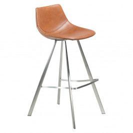 Hnedá barová stolička s oceľovou podnožou DAN–FORM Pitch