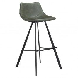 Zelená barová stolička s čiernou kovovou podnožou DAN–FORM Pitch
