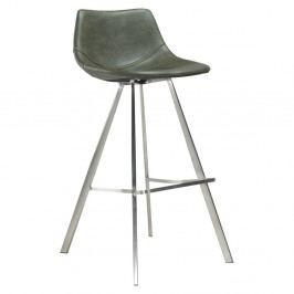 Zelená barová stolička s oceľovou podnožou DAN–FORM Pitch