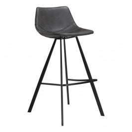 Sivá barová stolička s čiernou kovovou podnožou DAN–FORM Pitch