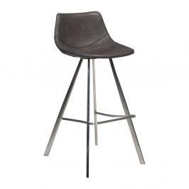 Sivá barová stolička s oceľovou podnožou DAN–FORM Pitch