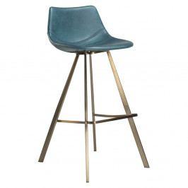 Modrá barová stolička s oceľovou podnožou v zlatej farbe DAN–FORM Pitch