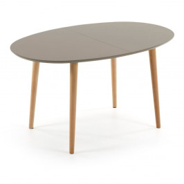Sivý oválny rozkladací jedálenský stôl La Forma Oakland, 90x140/220cm