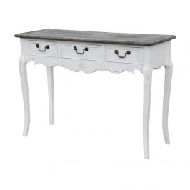 Biely konzolový stolík z topoľového dreva s prírodnými detailmi a 3 zásuvkami Livin Hill Rimini